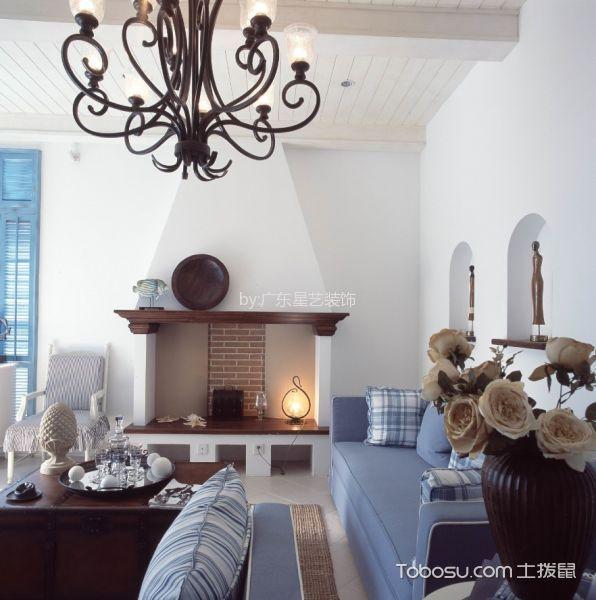 客厅黑色灯具地中海风格装潢效果图
