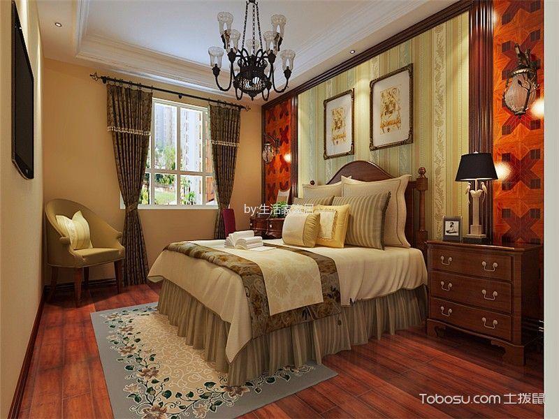 卧室红色地板砖美式风格装修效果图