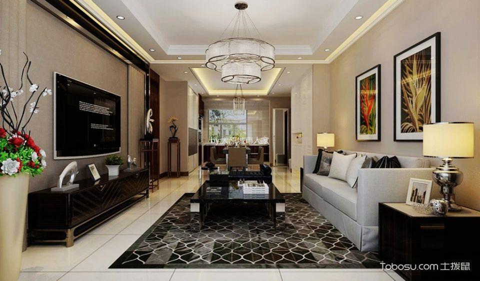 现代简约风格139平米两室两厅室内装修效果图