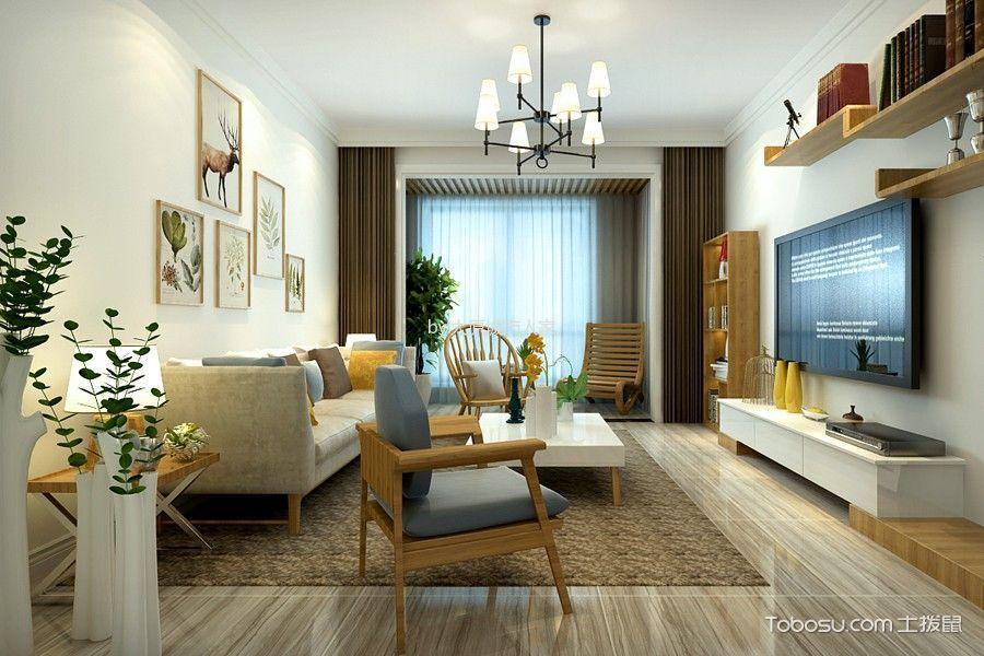 客厅 窗帘_现代简约风格93平米2房2厅房子装饰效果图