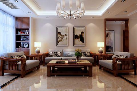 新中式风格133平米3房2厅房子装饰效果图