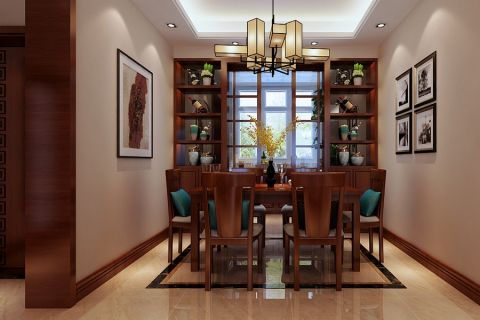 餐厅博古架新中式风格装潢效果图
