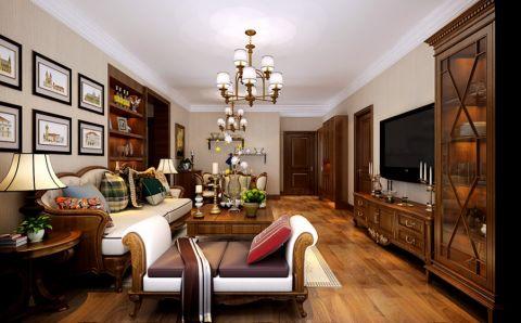 美式风格130平米2房2厅房子装饰效果图