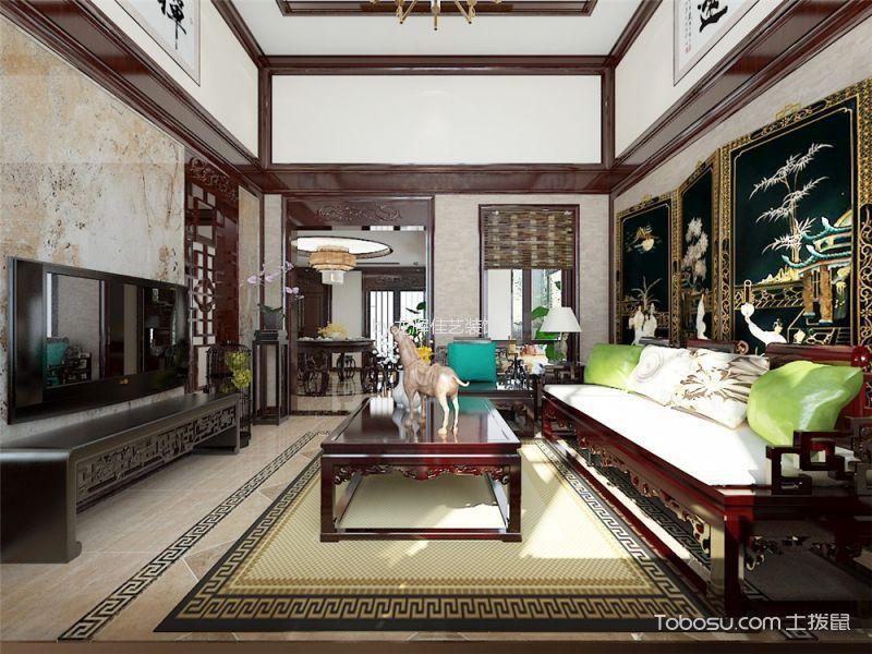 中式风格180平米别墅室内装修效果图