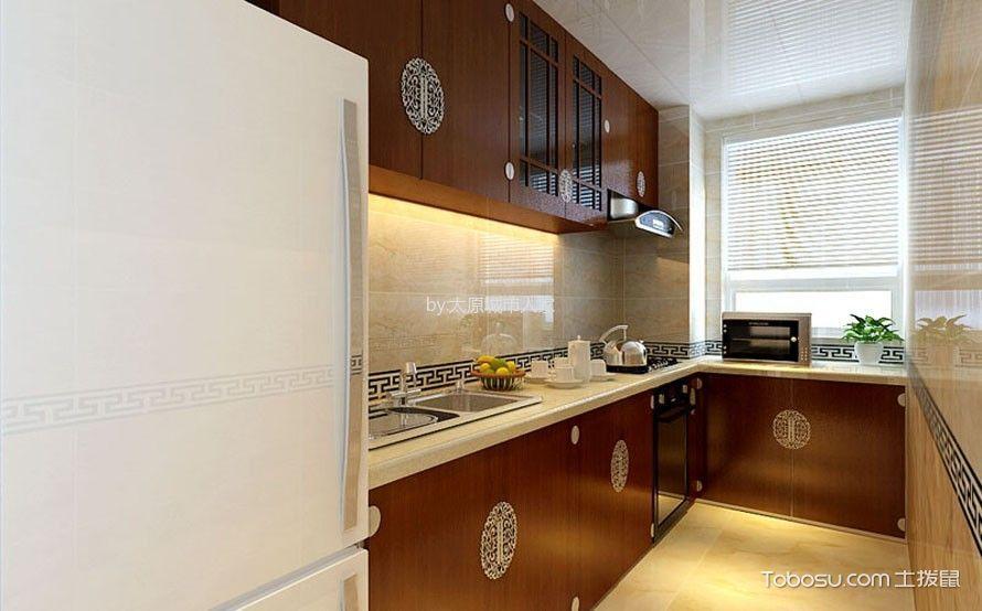 厨房 橱柜_新中式风格90平米两房两厅新房装修效果图