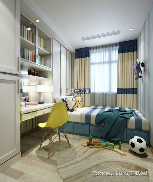儿童房米色窗帘现代风格装修设计图片