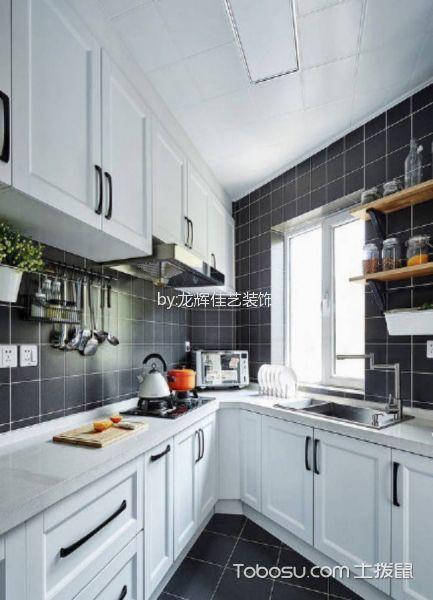 厨房黑色背景墙北欧风格装修图片