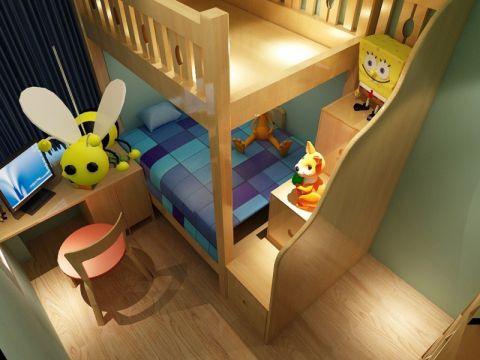 儿童房绿色背景墙现代风格效果图