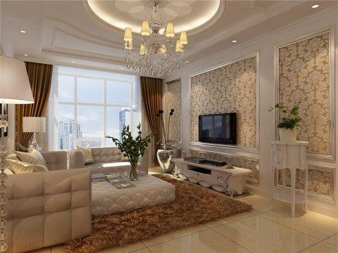 简欧风格80平米两房两厅新房装修效果图