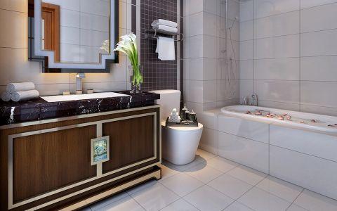 卫生间浴缸新中式风格装潢效果图