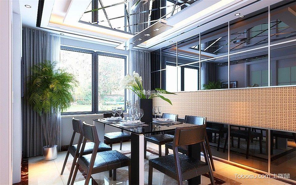 餐厅灰色窗帘简约风格装饰设计图片
