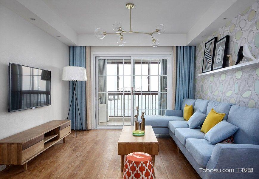 北欧风格98平米两房两厅新房装修效果图