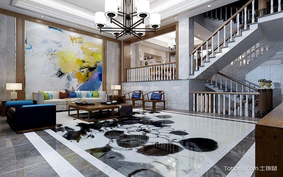 客厅 沙发_新中式风格300平米别墅室内装修效果图