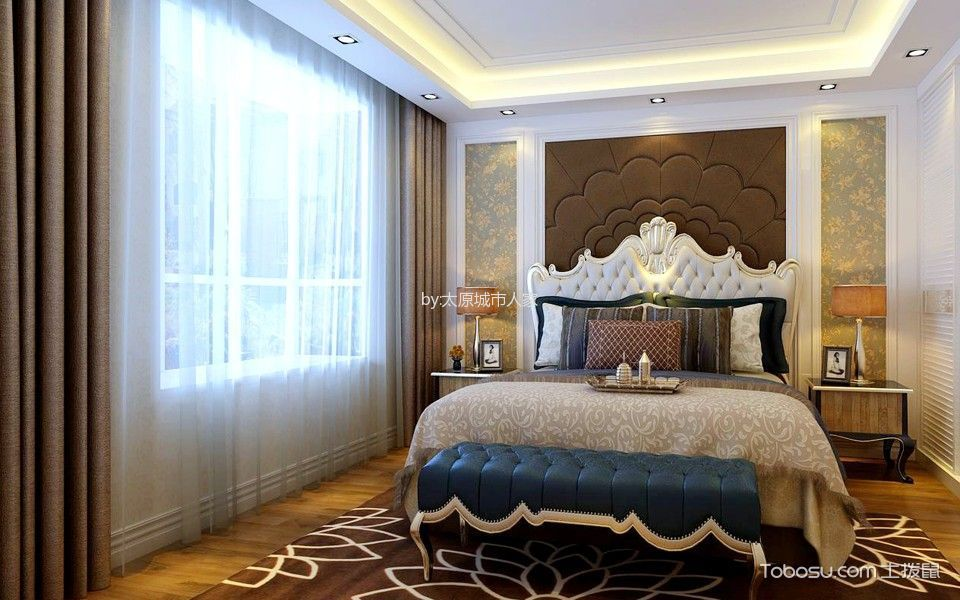 卧室 背景墙_欧式风格170平米三室两厅室内装修效果图