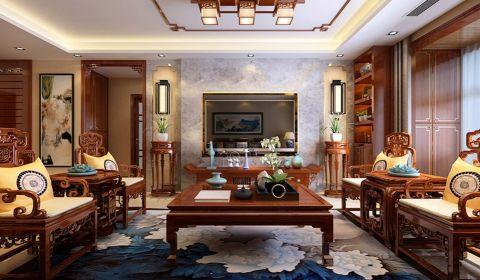 中式风格160平米三室两厅室内装修效果图
