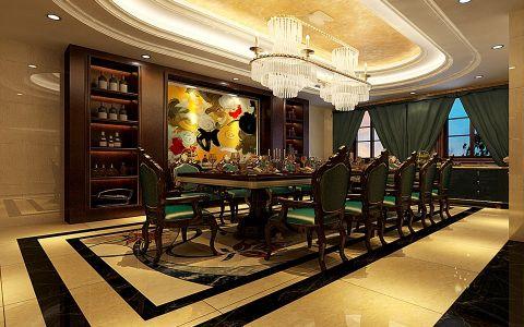餐厅博古架美式风格装潢效果图