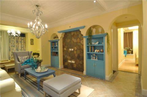 客厅博古架地中海风格装潢效果图