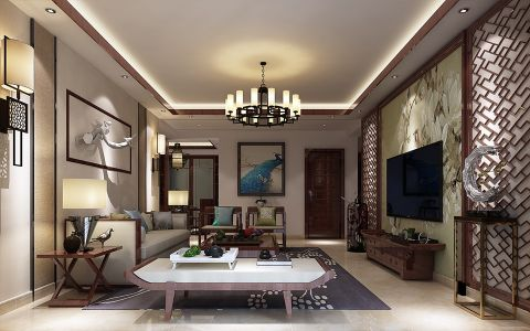 中式风格170平米大户型房子装饰效果图