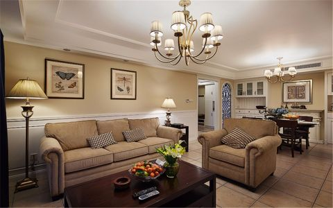美式风格110平米三室两厅室内装修效果图
