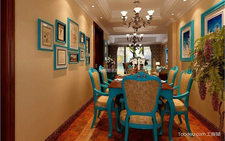 餐厅白色灯具地中海风格装潢效果图
