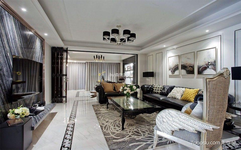 客厅黑色灯具新古典风格装饰效果图