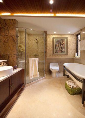 卫生间背景墙新中式风格装修设计图片