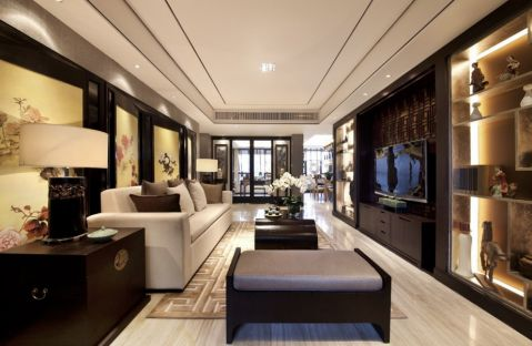 新中式风格134平米四房两厅新房装修效果图
