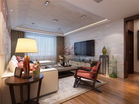 中式风格142平米三室两厅室内装修效果图