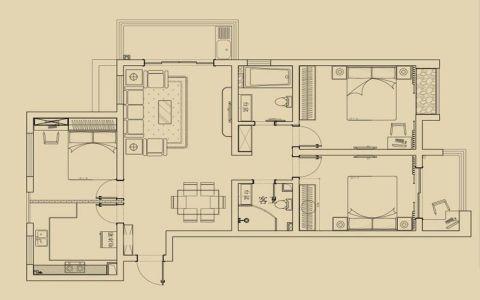 阳光水世界美式三居室实景效果图