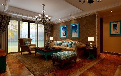 地中海风格134平米三房两厅新房装修效果图
