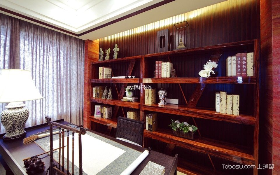 中式古典风格120平米三房两厅新房装修效果图