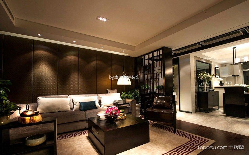 新中式风格119平米三房两厅新房装修效果图