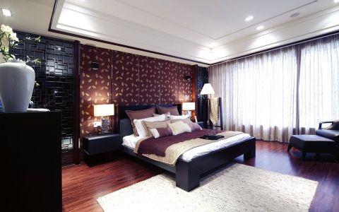 卧室背景墙中式古典风格装修图片