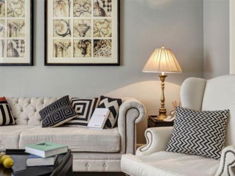 客厅背景墙田园风格装修图片