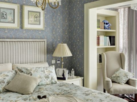 卧室博古架田园风格装潢图片