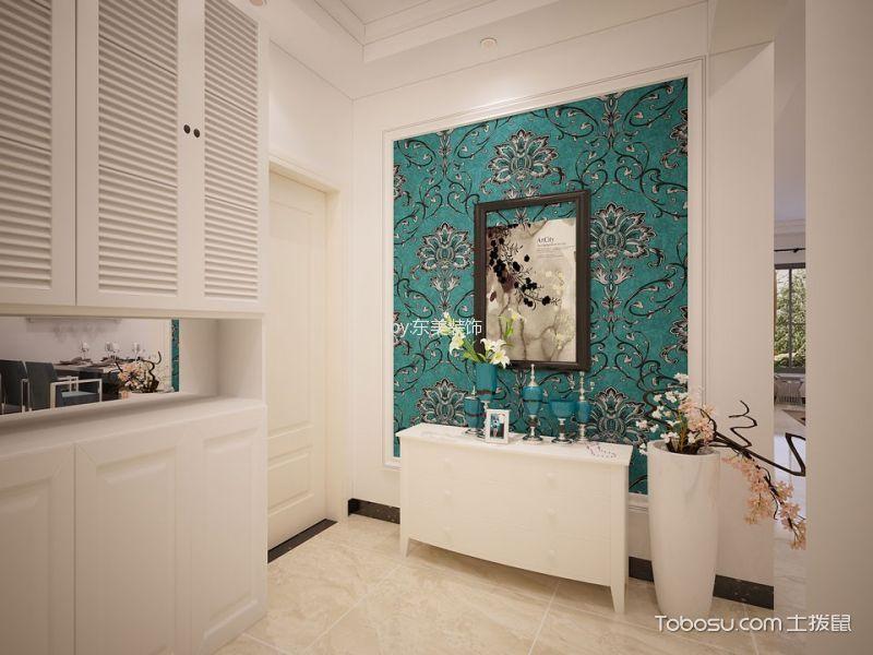 玄关绿色背景墙现代风格装修设计图片