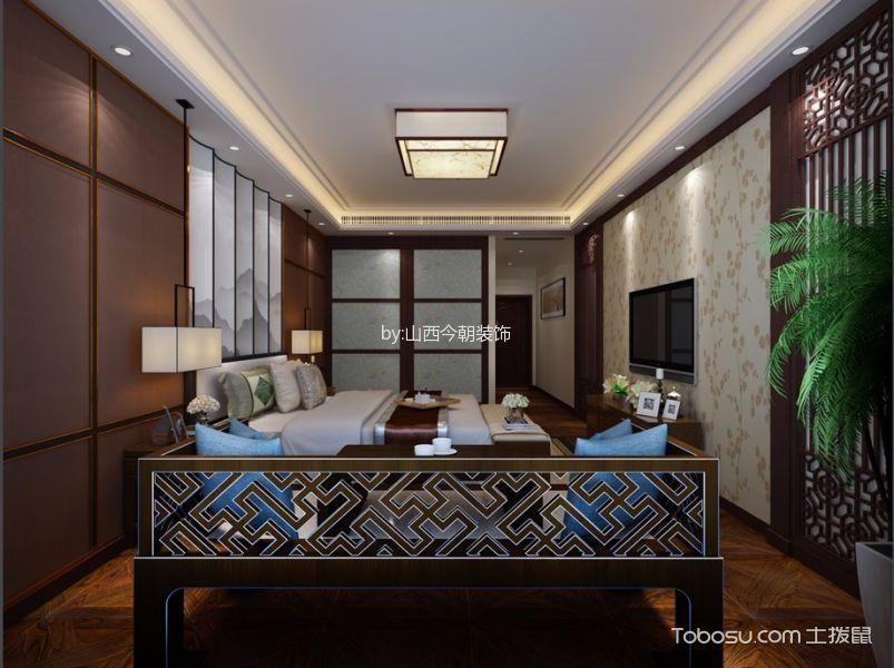 卧室 背景墙_中式风格160平米大户型室内装修效果图