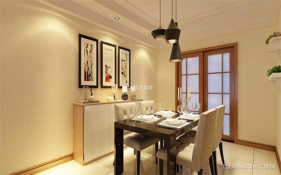 餐厅黑色灯具简约风格装修设计图片