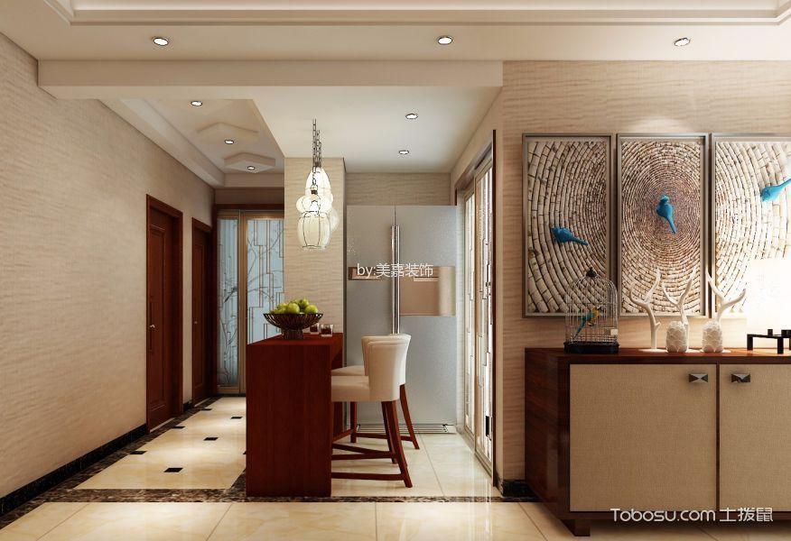 客厅咖啡色吧台新中式风格效果图