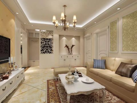 简欧风格100平米三房两厅新房装修效果图