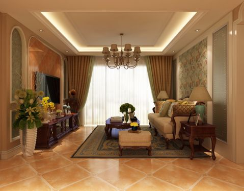 美式风格134平米三房两厅新房装修效果图