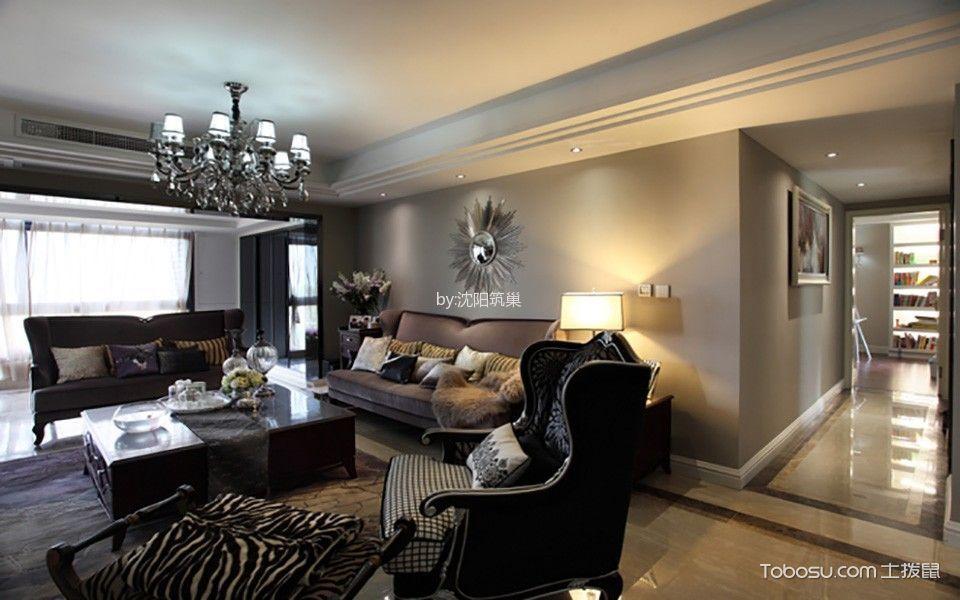客厅白色灯具新古典风格装饰效果图