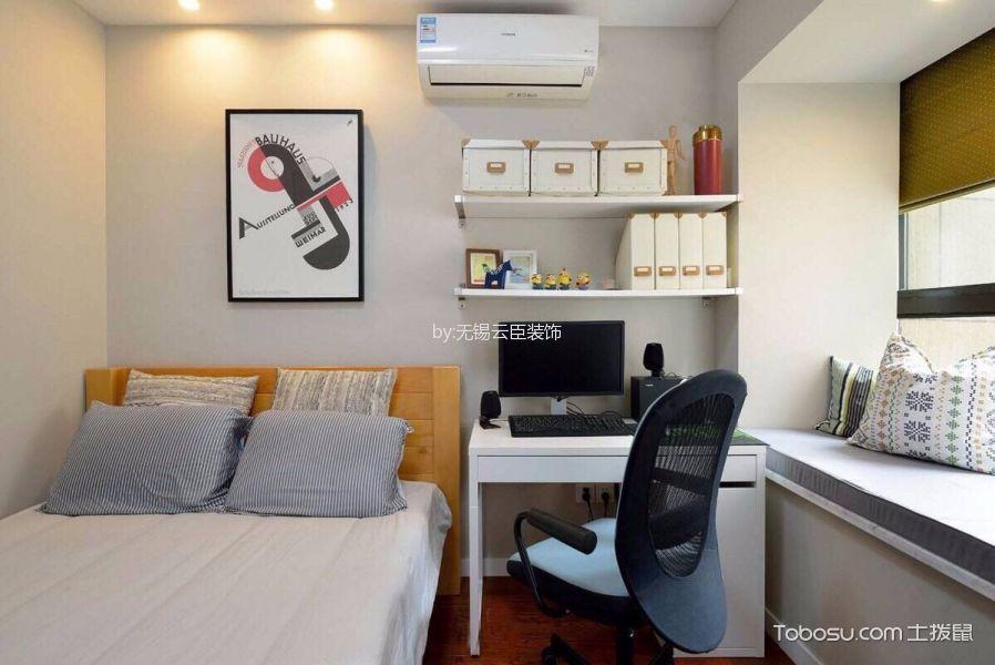 卧室白色书桌混搭风格装修图片