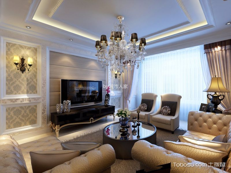 简欧风格125平米3房2厅房子装饰效果图