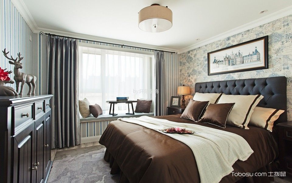 卧室 窗帘_美式风格150平米复式室内装修效果图