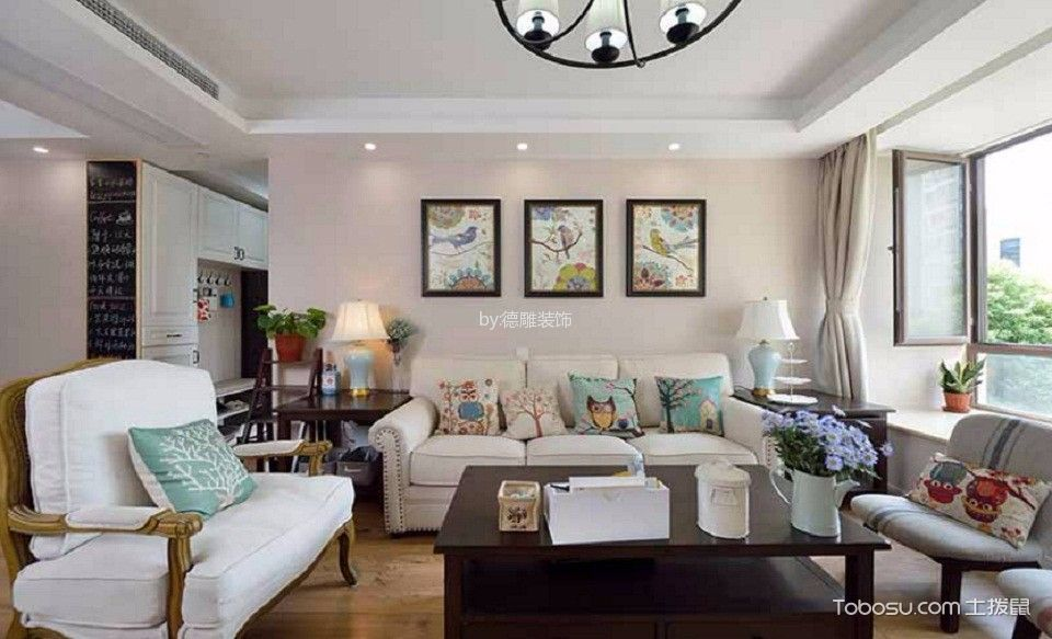 美式风格130平米大户型房子装饰效果图