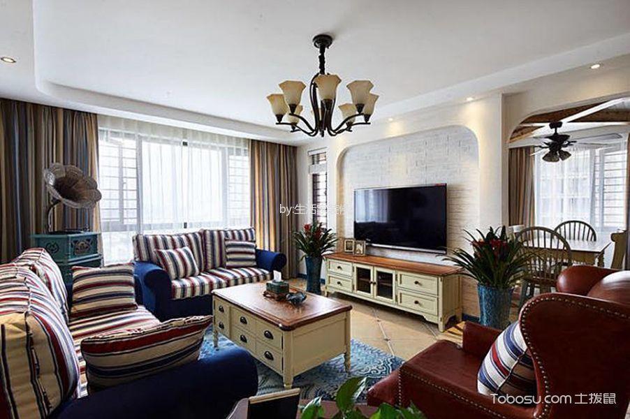 客厅黄色灯具地中海风格装潢设计图片