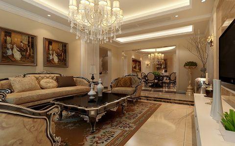 欧式风格120平米大户型房子装饰效果图