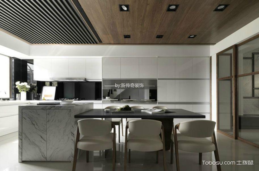 厨房灰色餐桌现代简约风格装潢效果图