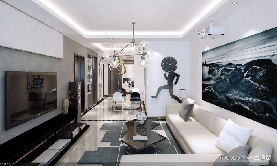 现代简约风格100平米小户型室内装修效果图